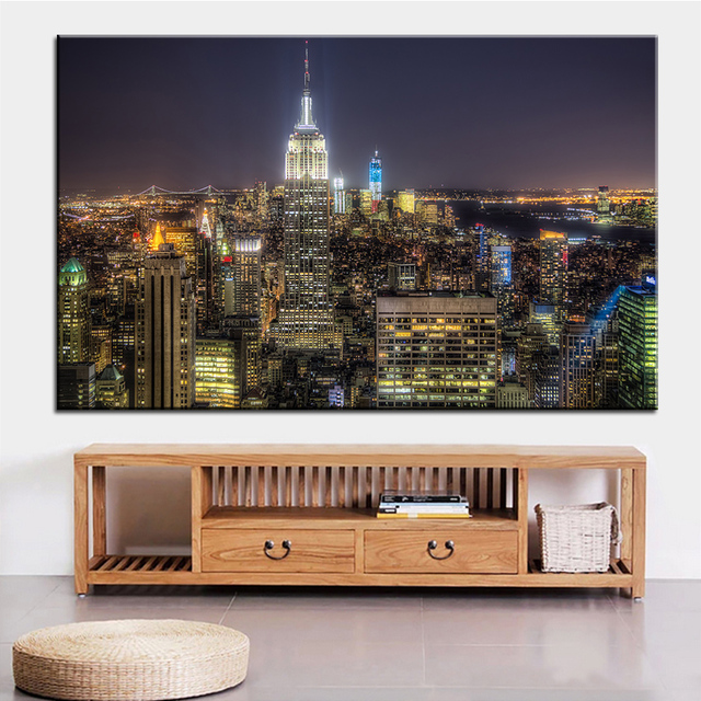 Large size Printing Oil Painting manhattan ny Wall painting Decor ...