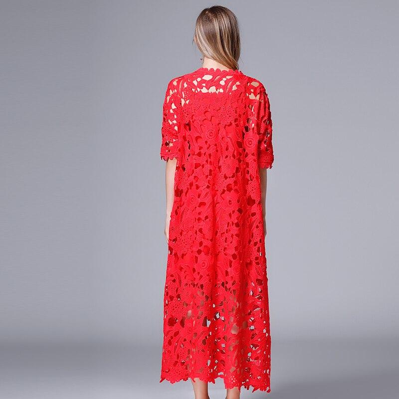 Encaje Largo Más Flojo Musenda Ladies Casual Otoño 2018 Tamaño Rojo Maxi Fuera Vestidos Hacia Vestido Robe Mujeres Beach Ropa Ahueca 4qq0wdPR