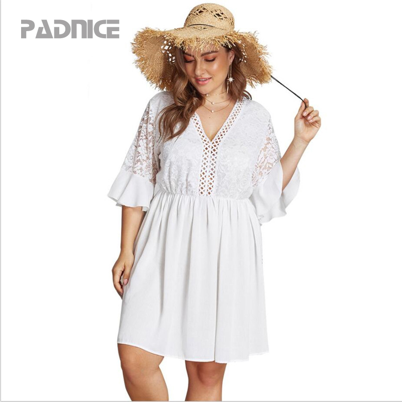 <font><b>Plus</b></font> <font><b>Size</b></font> Summer <font><b>Fat</b></font> MM <font><b>Dresses</b></font> <font><b>Sexy</b></font> V Neck Solid <font><b>Lace</b></font> Hollow Out White <font><b>Dress</b></font> Office Ladies <font><b>Dress</b></font> Casual Loose <font><b>Female</b></font> <font><b>Women</b></font> Wear image