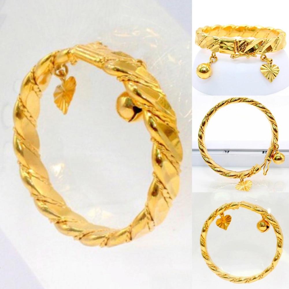 Gold Color New Bell Heart Bracelet Children Boys Girls Baby Kids Bracelet Jewelry Anti-Allery Bracelet