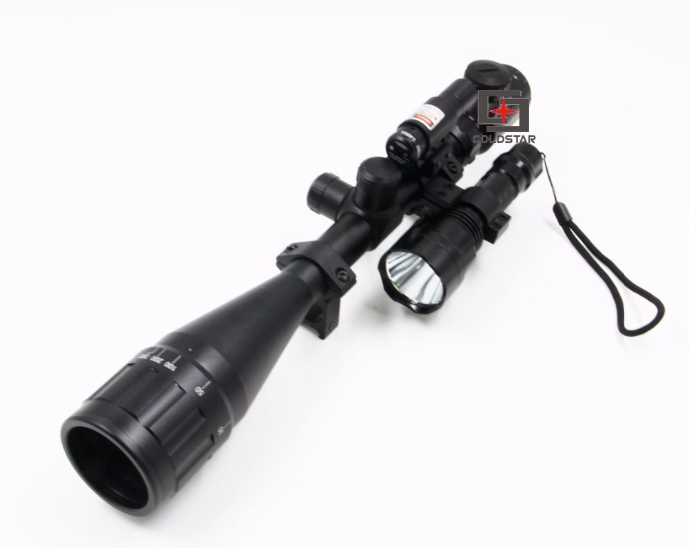 6-24x50AOE Hunting Rifle Scope Compact ComboSight with Laser & T6 LED Airsoft Shooting Flashlight 5 Mode C8 Torch Flash Light мяч попрыгун larsen тигренок