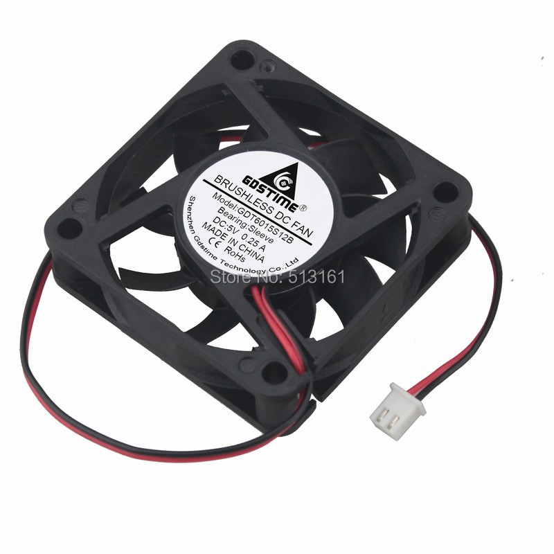 Купить с кэшбэком 5PCS Gdstime 60x60x15mm DC 5V 2 Pin 60mm Cooler Brushless Axial PC CPU Case Cooling Fan 6015
