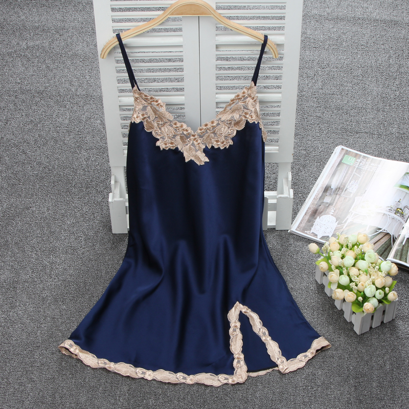 Women Sexy Silk Satin Nightgown Sleeveless Nighties Lace Sleepshirt V-neck Sleep Dress Night Dress Comfortable Home Wear