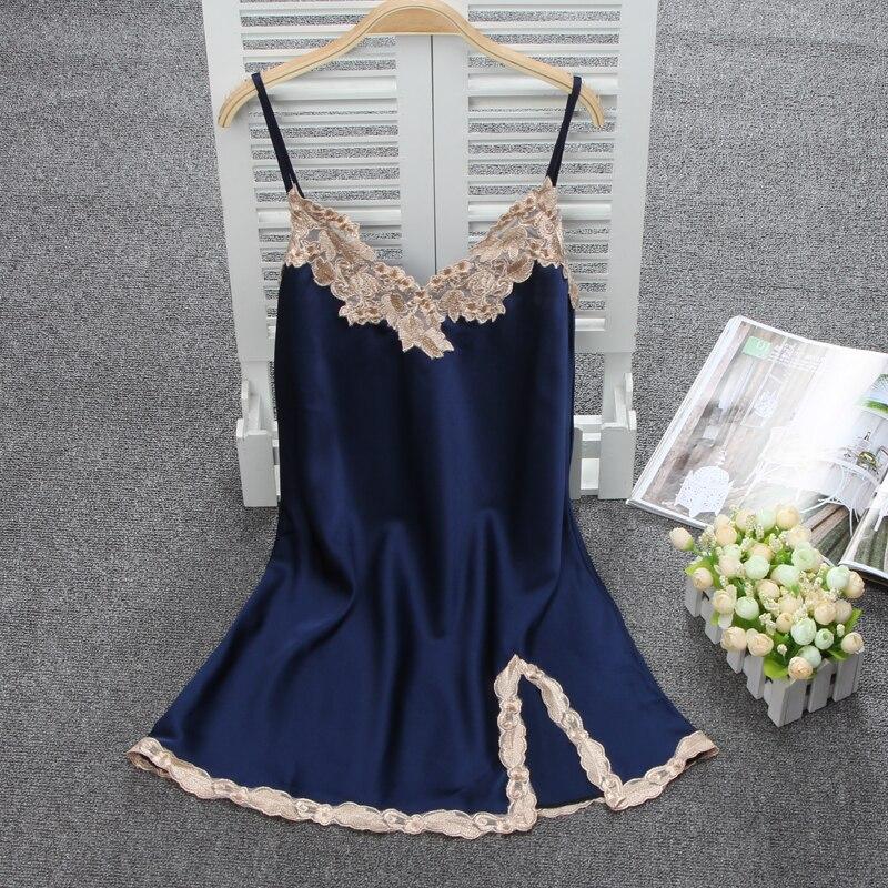 Women Sexy Silk Satin   Nightgown   Sleeveless Nighties Lace   Sleepshirt   V-neck Sleep Dress Night Dress Comfortable Home Wear