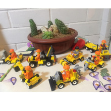 O criador da Técnica Dumper Escavadeira Bulldozer Caminhão Blocos Define 7 pcs LegoINGly Do Veículo da Construção Da Cidade