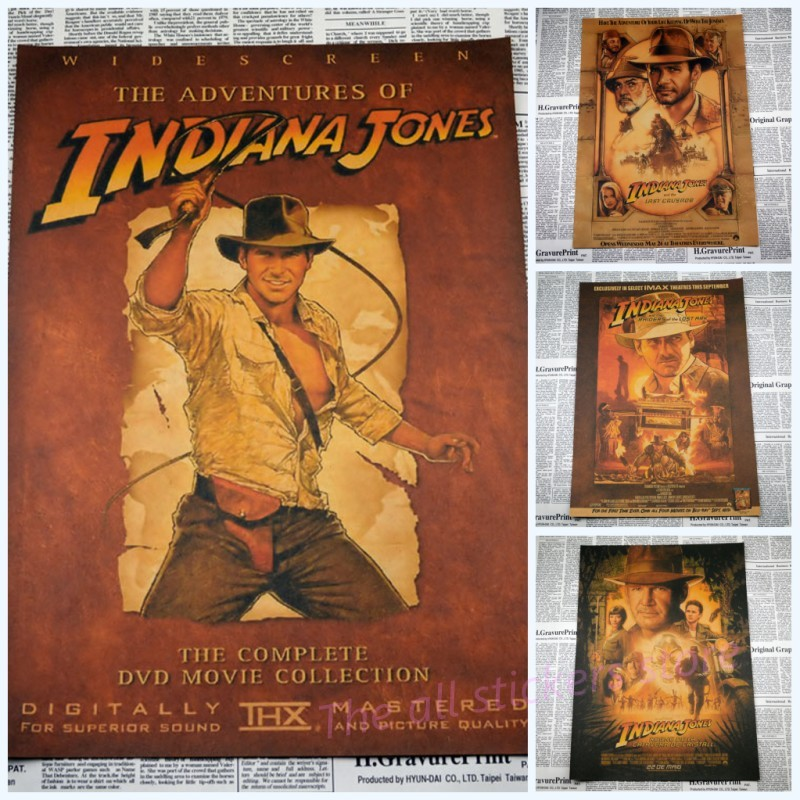The indiana Jones series Treasure hunt adventure movie posters Retro kraft paper posters bar sitting room adornment /1014 image