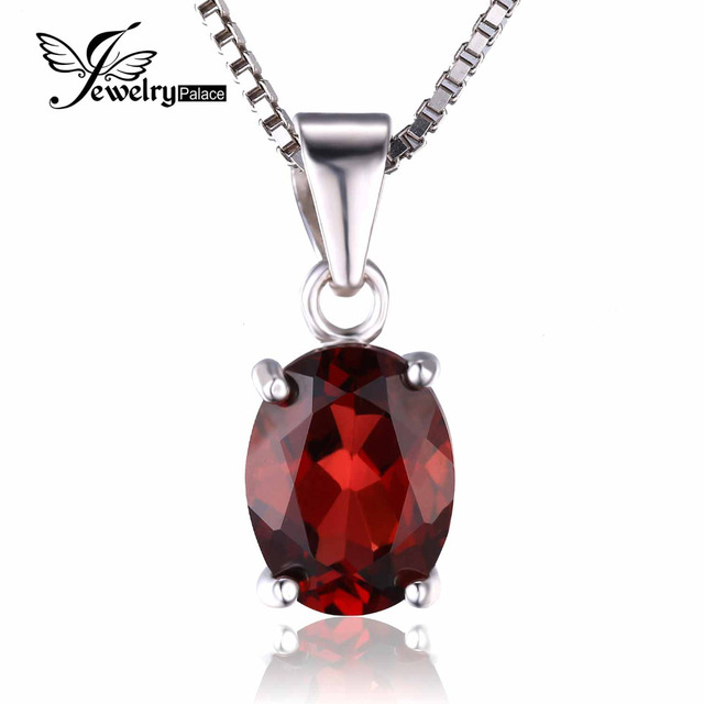 JewelryPalac Oval 2.5ct Natural Red Garnet Birthstone Solitaire Pendant 925 Sterling Silver Women  Fine Jewelry Without a Chain