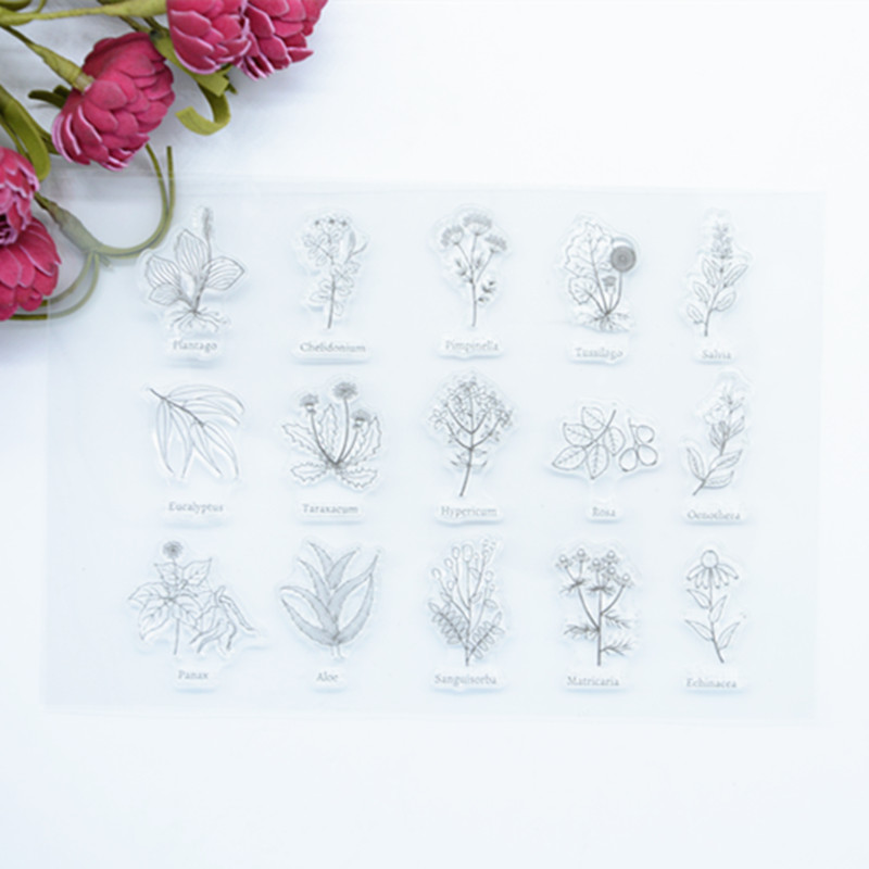 2017 brand new Scrapbook DIY Photo Album Account Transparent Silicone Rubber Clear Stamps Famous Plant 11x16cm