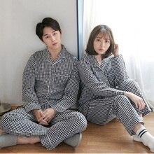 Amantes Pijamas de Algodão de Mangas Compridas Mulheres Outono branco BlackPlaid M XXL Pajama Set Home Wear Pijamas Casual plus size para as mulheres