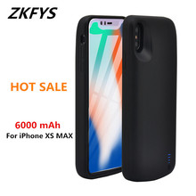 ZKFYS For iPhone XS MAX Ultra Thin Silicone Anti-drop Back Clip Battery Charger Cases 6000mAh Fast Charging Cover