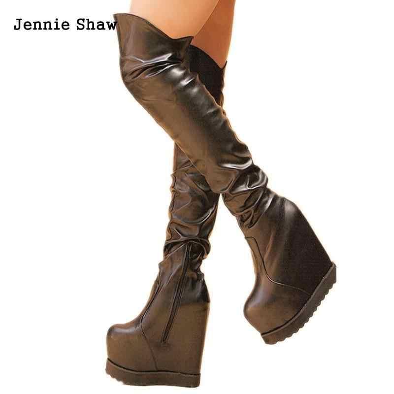 Mujer Altas Alto Cm Zapatos De Muslo Botas Negro Moda Blanco 16 Tacón Por La Encima Rodilla IED2H9