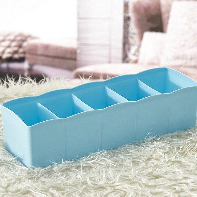 Caja de almacenamiento de organizador de plástico de 5 celdas, calcetines de sujetador con lazo, divisor de cosméticos, cajón, ordenado, envío directo de 27 cm x 6,5 cm x 8,5 cm Jy14