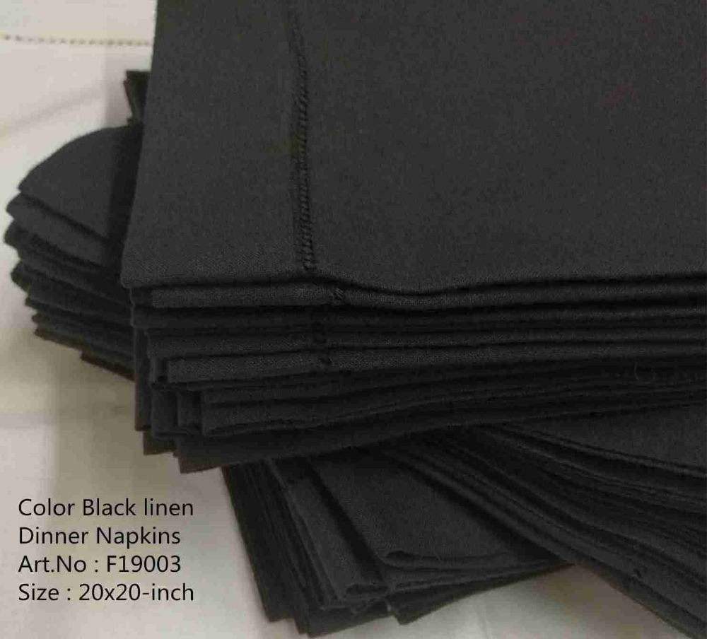 Set Of 12 Fashion Napkins & Handkerchiefs Color Black Hemstitched Linen Table Napkins/Dinner Napkins For Dinner Party 20x20-inch