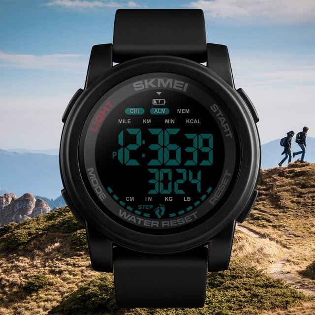 Top Brand SKMEI Mannen Digitale Horloge Calorie Stappenteller Countdown Sport Horloges Waterdichte Man Militaire Armband Wekker