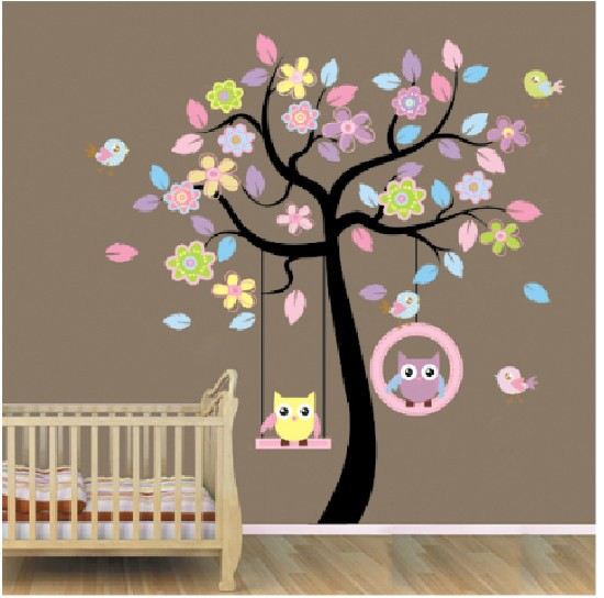 170*160cm Cute Blue Pink Owl Swing Tree Kids Baby Home Decor Mural Wall Stickers decoration Beautification adornment wall