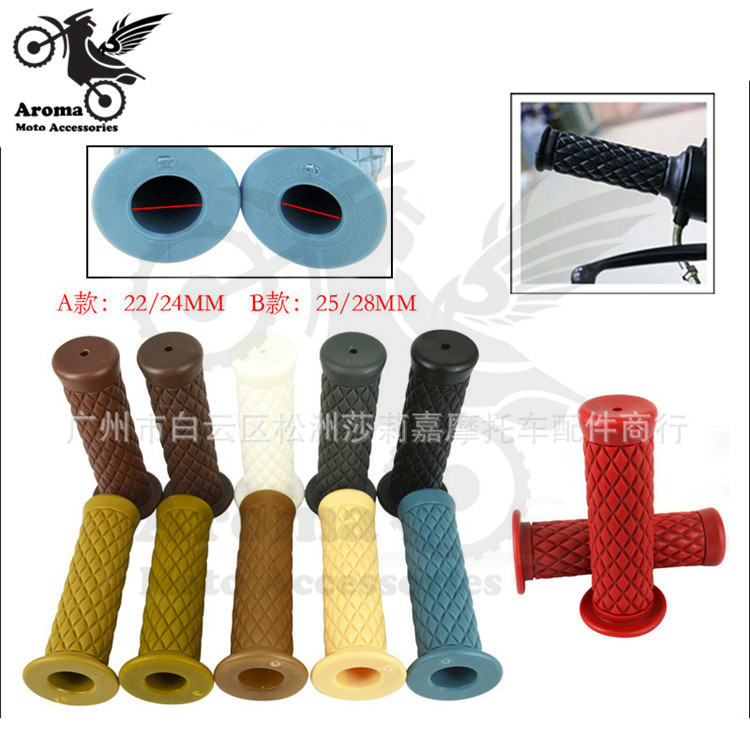 11 colors available retro moto handle grip motorcycle handlebar for honda suzuki yamaha harley cafe racer vintage motorbike grip