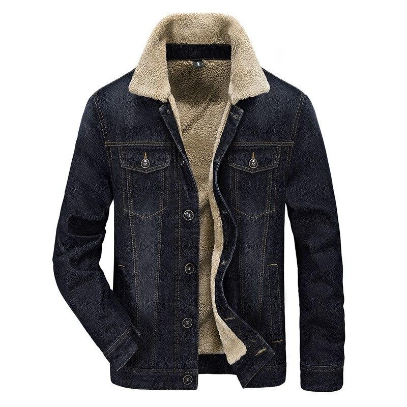 Hiver Polaire Jeans Denim Noir Coupe Hommes vent Manteau M Mâle 4xl Veste Outwear Grande Unique Poitrine Chaud bleu Épaisse Taille OXikZTPu