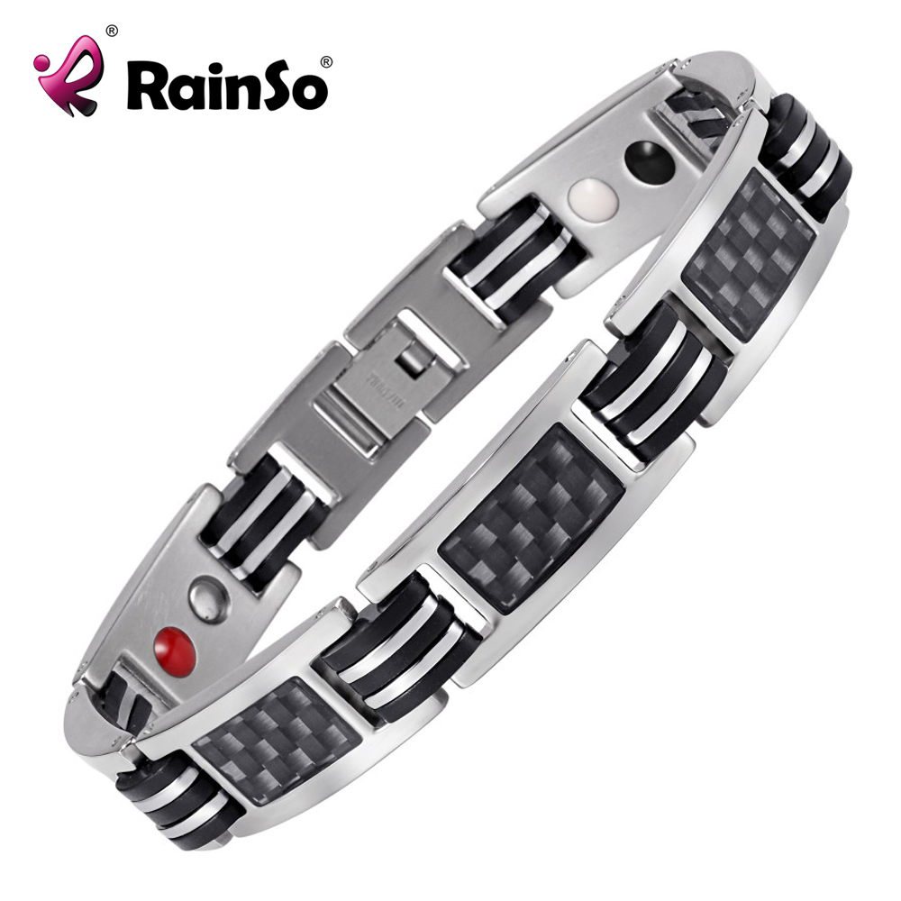 Rainso Chain Bracelets Men Jewelry Energy Magnetic Health Bracelet  Brazil Style Couples Black Titanium Bracelets Handmade