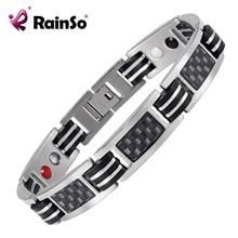 Rainso Chain Bracelets Men Jewelry Energy Magnetic Health Bracelet  Brazil Style Couples Black Titanium Bracelets Handmade