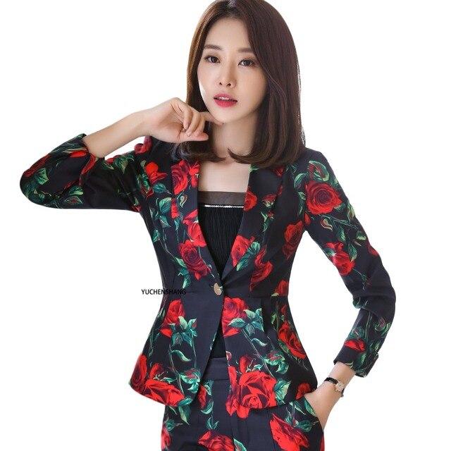 2018 花のブレザー女性エレガントなフルスリーブ OL 花ジャケット高品質のオフィスレディース s-4xl 作業服中国風コート