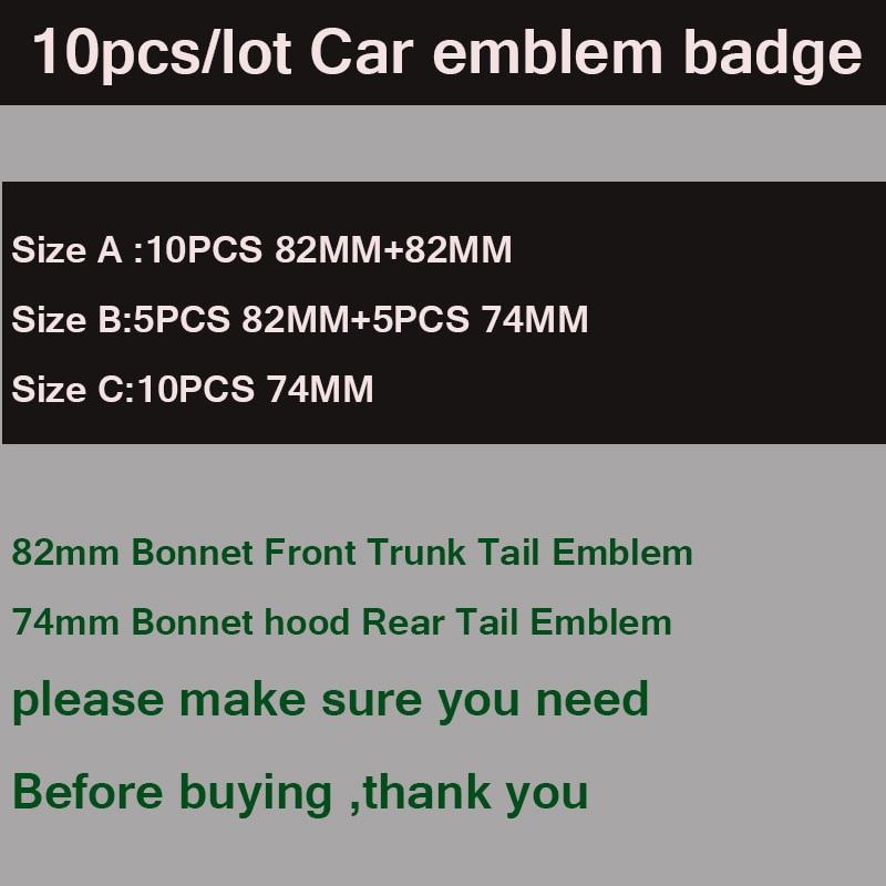For E60 E90 F10 F30 F15 E63 E64 E65 E86 82MM 74MM 10pcs/set Car Front Hood Emblem Auto Rear Trunk Badge Bonnet label Boot Logo car led door logo projector ghost shadow light for bmw 3 5 6 7 m3 m5 e60 e90 f10 e63 f30 e64 e65 e86 e92 e85 e93 e61 f01 f02 gt