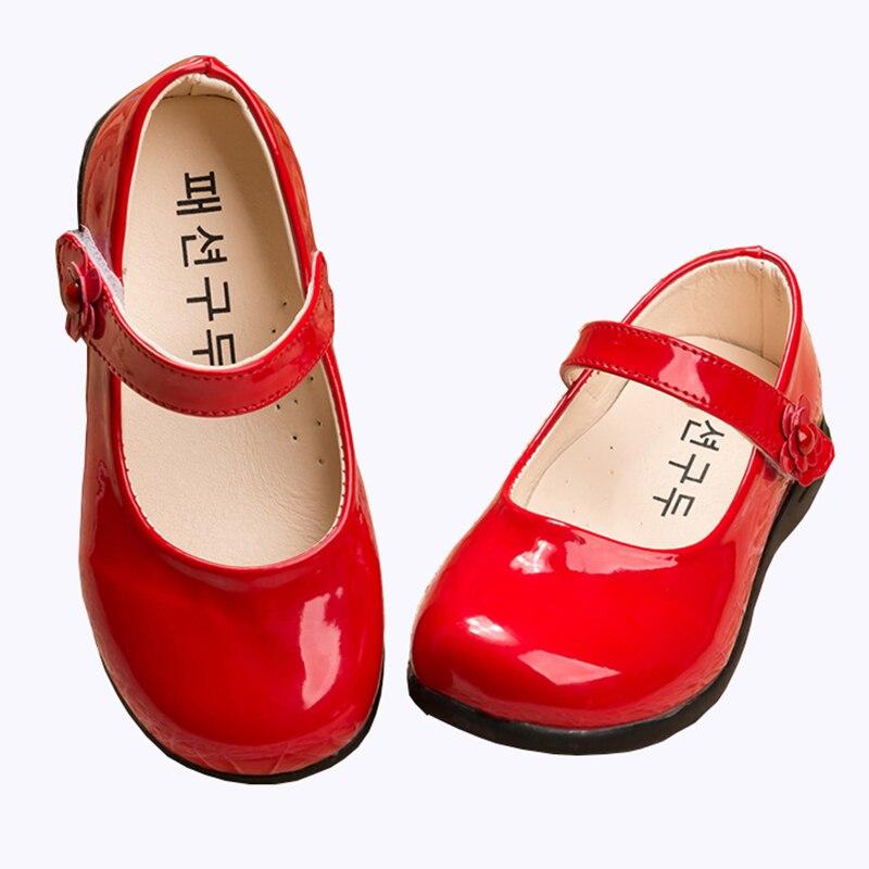 Red Children Flowers girls Kids patent leather Princess