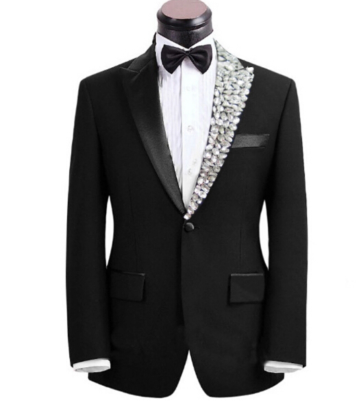 ee15751e89915 Plus size Mens fashion rhinestone collar Clothes male singer suit set with pants  costume bling formal wedding dress married