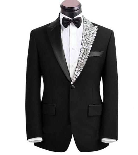 Talla grande para hombre moda strass collar ropa hombre singer suit set con  pantalones disfraz bling 3d1235506f3