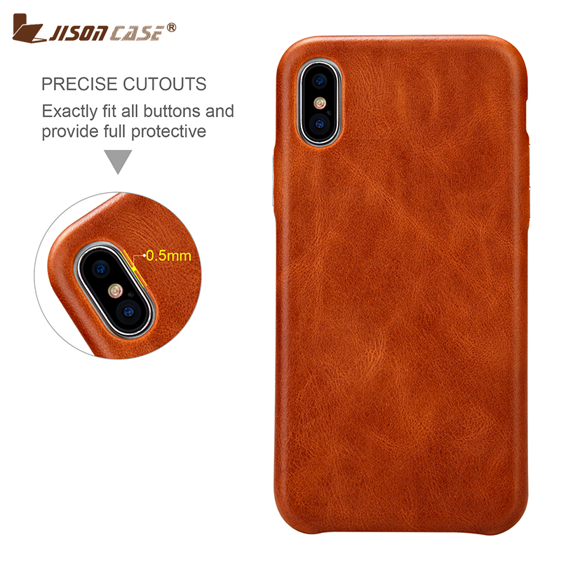 Jisoncase Cover Genuine Leather Case for iPhone X/XS Luxury Brand Vintage Phone Case Slim Design Comfortable Metal Button New