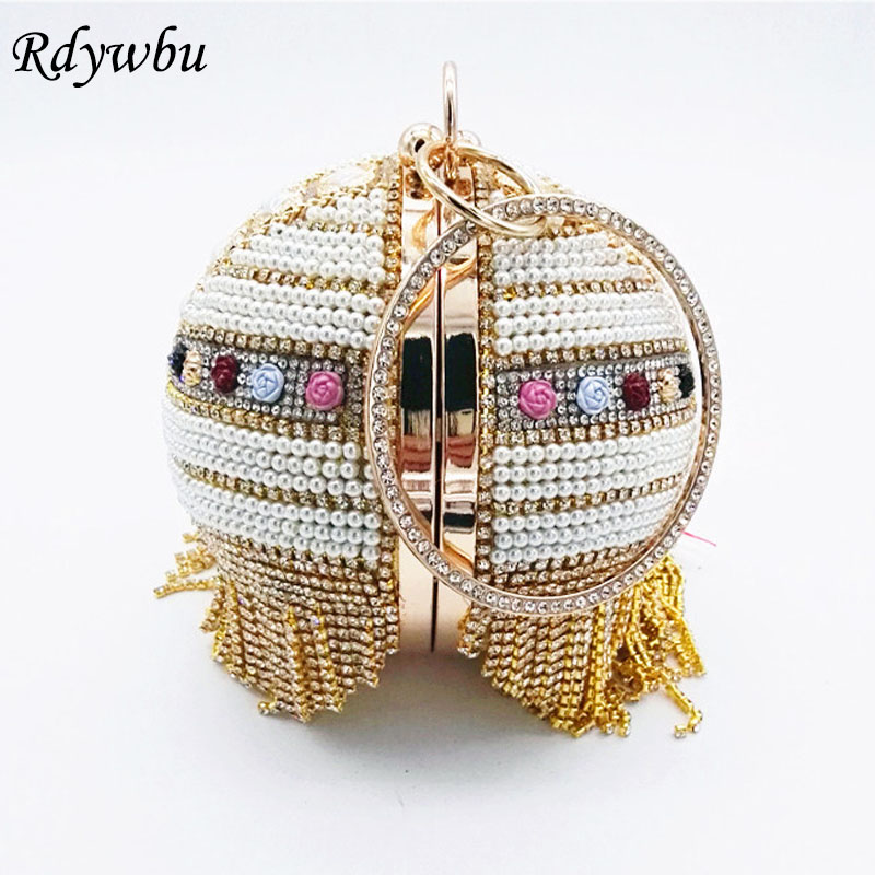 Rdywbu Luxury Tassel Handmade Ball Chain Evening Bag Round Flower Beaded Wedding Bride Wrist Clutch Diamonds Purse Handbag B448