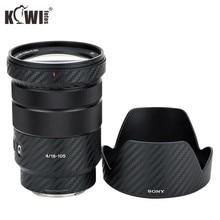 Anti Scratch Lens ve Lens Hood cilt karbon fiber film Sony E PZ 18 105mm F4G OSS SELP18105G lens ve ALC SH128 3M Sticker