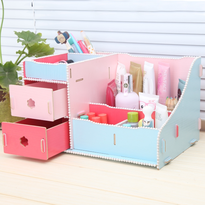 Creative DIY Cute Desk Stationery Organizer Office Supplies Wooden Drawer Storage Box