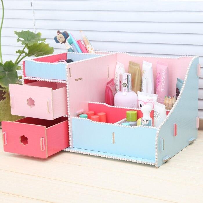 Creative bricolage mignon bureau papeterie organisateur fournitures de bureau en bois tiroir boîte de rangement