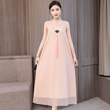 Pink Dress Modern Chinese Elegant Vintage Plus Size Large Maxi Dresses embroidery Sleeveless Party Night Summer Robe Clothing цены
