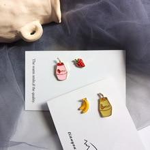 Japanese Korean banana milk ear studs strawberry asymmetric earrings funny yogurt young gilr jewerly