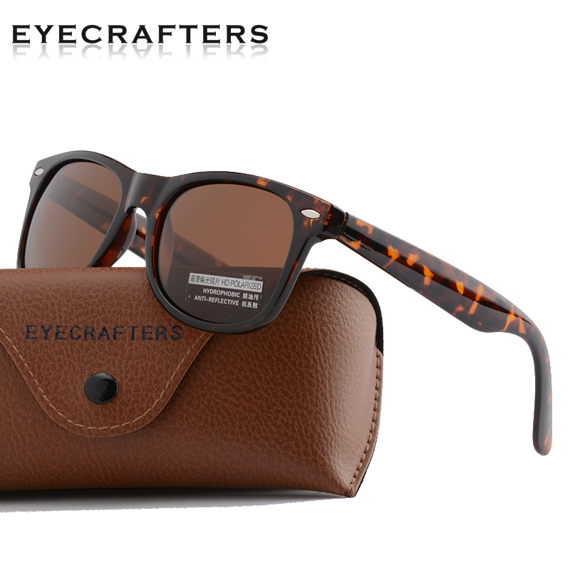 Fashion Classic Polarized Sunglasses Mens Driving Mirror Coating Points Tortoise Frame Brown Lens Eyewear Male Sun Glasses UV400
