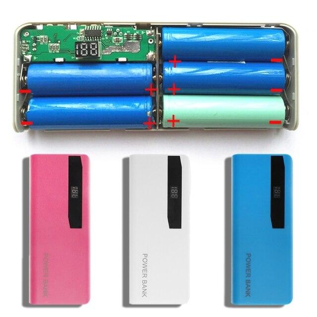 Cargador de batería de litio, 5x18650, pantalla LCD, bricolaje, caja de Banco de energía, linterna, caja externa