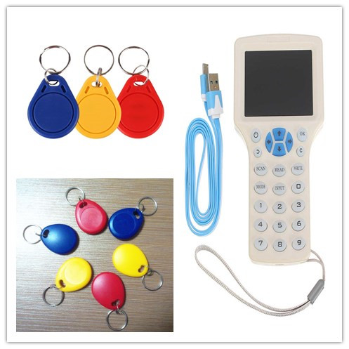 10 Frequency RFID Card Programmer Copier Duplicator Writer Cloner 5pcs 125Khz T5577 EM4305 Writable Token 5pcs