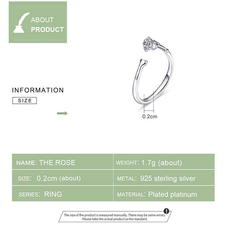 bamoer Thorns and Rose Open Adjustable Finger Rings for Women 3D Flower Ring Band 925 Sterling Silver Jewelry Korean BSR065