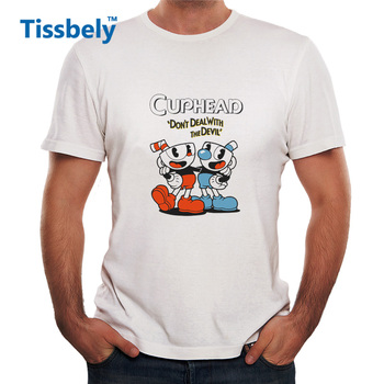 Tissbely Cuphead T Shirt for Man Cuphead Game Fans Print Graphic Tees Shirts Man Fans White Short Tops