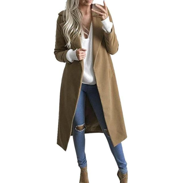 2b5380555f8 Winter Womens Long Coat Lapel Parka Jacket Cardigan Overcoat Outwear Women s  windbreaker Casacos de inverno feminino coat female
