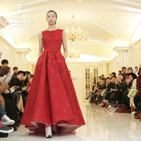 Sleevelss Boat Neckline Embroidery 3D lace Box Pleat Skirt A line Open Keyhole Back No Train Women Red A line Prom Dress 2018