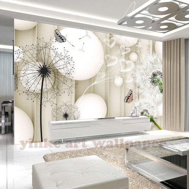 custom foto behang moderne 3d eenvoudige bal en paardebloem behang slaapkamer woonkamer sofa tv achtergrond 3d