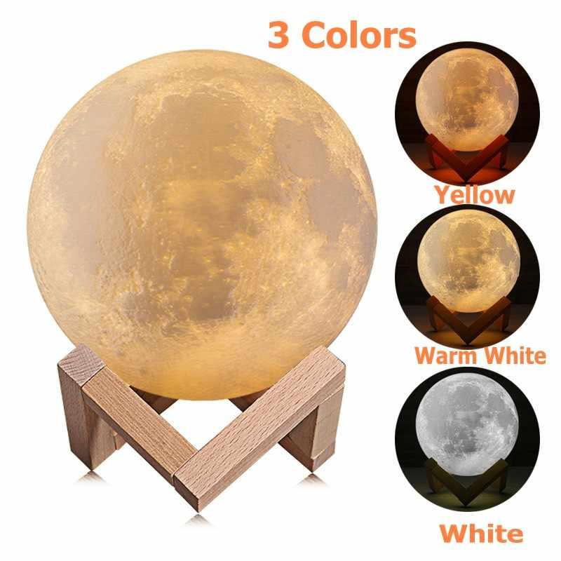 3d-принт, лунная лампа, перезаряжаемая, 16/2 цветов, сенсорный ночник, лунная луна, детский ночник, Рождественский домашний декор 8-20 см