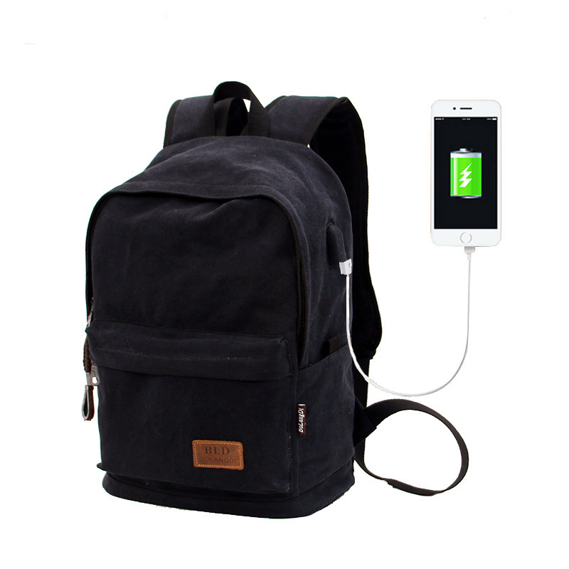 2019 Casual College Laptop Backpack USB Charging Anti Theft Backpack Men Travel Backpack Canvas School Bag Male Mochila Vintage image