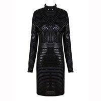 2018 New Arrival Black Sexy Women Party Dress Long Sleeve Mesh PU Leather Striped Bodycon Vestidos Celebrity Women Dress