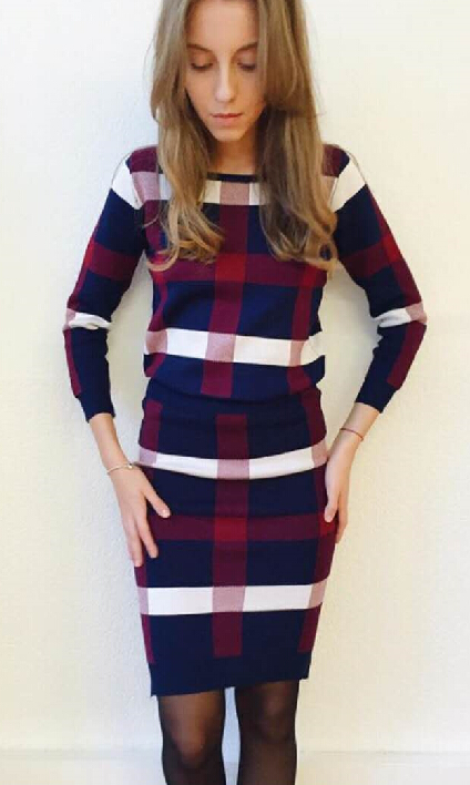 European Station 2017 Winter New Style Grid Long Sleeved Knitted Shirt Suit Women street lattice thicken warm woolen dress