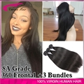 Lace Frontal Weave 360 Lace Frontal Closure With Bundles Brazilian Straight Hair Bundles With Frontal Virgin Hair With Closure
