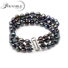 White real freshwater black pearl bracelet women,double natural pearl bracelet jewelry daughter girl best gift birthday white double r new design real fashion style natural freshwater pearl pendant for women high quality fine jewelry girl best gift