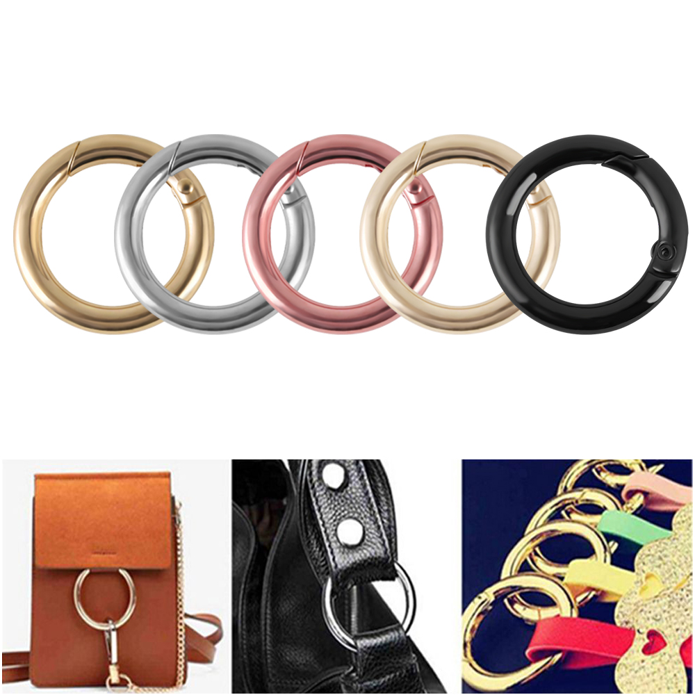 5pcs Classic Silver Circle Round Carabiner Spring Snap Clips Hook Keyring Backpack Buckle Key Chain Accessories Outdoor Camping